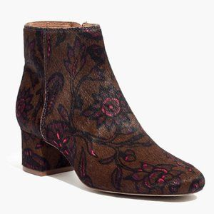 MADEWELL Margot Ankle Boots Floral Calf Hair Sz 7